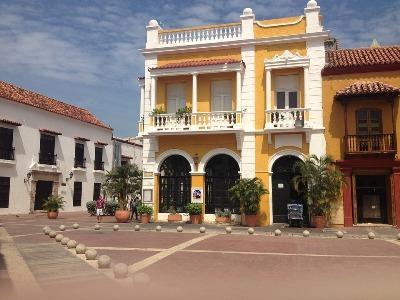 Gelbes Gebäude in der Altstadt Cartagenas